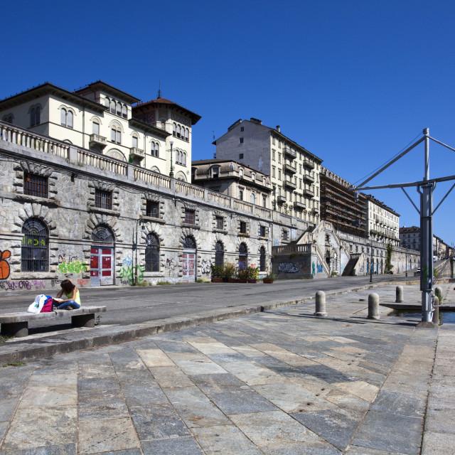"""The Murazzi del Po in summer, Turin, Piedmont, Italy, Europe"" stock image"