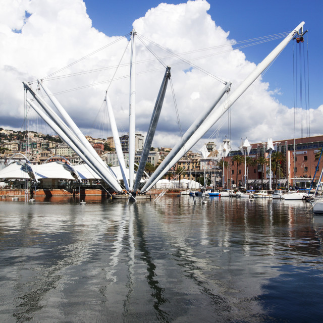 """The Bigo panoramic Lift at the Old Port in Genoa, Liguria, Italy, Europe"" stock image"