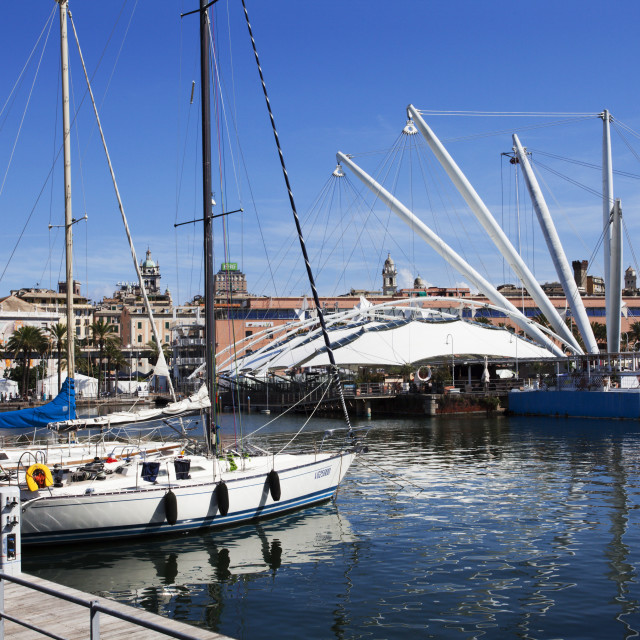 """Boats and the Bigo at the Old Port in Genoa, Liguria, Italy, Europe"" stock image"