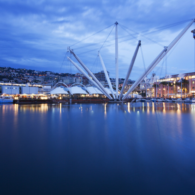 """The Bigo with lift raised in the Old Port at dusk, Genoa, Liguria, Italy, Europe"" stock image"