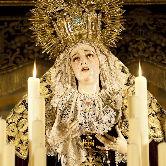 """""""Image of Virgin Mary on float (pasos) carried during Semana Santa (Holy..."""" stock image"""