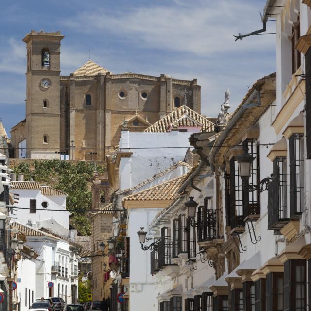 """Renaissance houses and 16th century La Colegiata, Osuna, Andalucia, Spain,..."" stock image"
