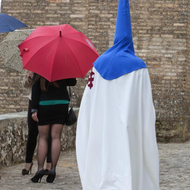 """Penitent during Semana Santa (Holy Week), Aracena, Huelva, Andalucia, Spain,..."" stock image"