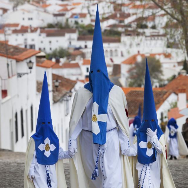 """Penitents during Semana Santa (Holy Week), Aracena, Huelva, Andalucia, Spain,..."" stock image"