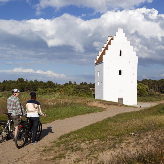 """Den Tilsandede Kirke (Buried Church) buried by sand drifts, Skagen, Jutland,..."" stock image"