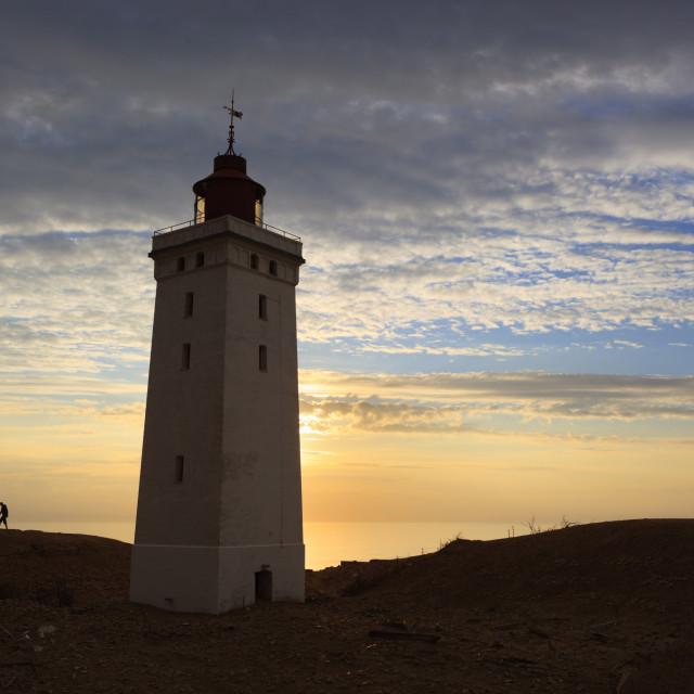 """Rubjerg Knude Fyr (lighthouse) buried by sand drift, Lokken, Jutland,..."" stock image"