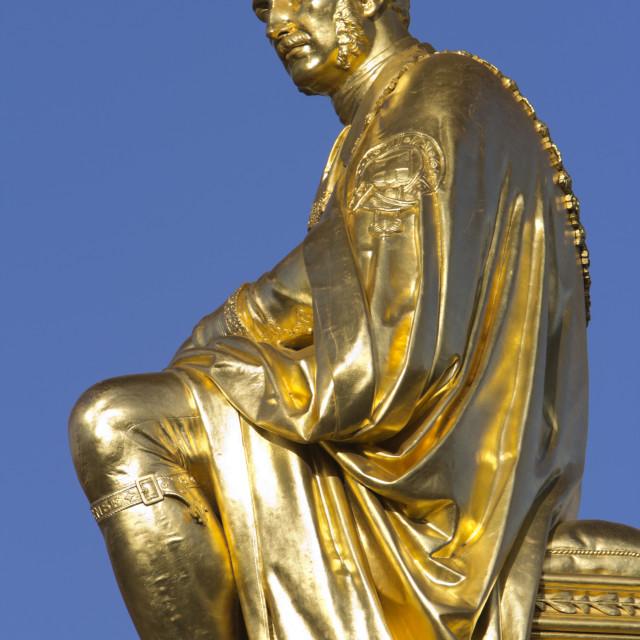 """Gilded statue of Prince Albert, The Albert Memorial, Kensington Gardens,..."" stock image"