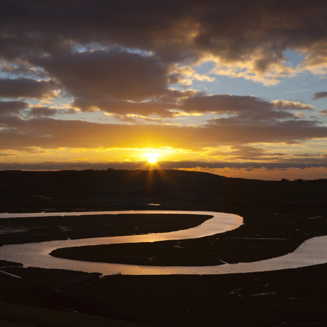 """""""Cuckmere River meanders at sunset, near Seaford, South Downs National Park,..."""" stock image"""