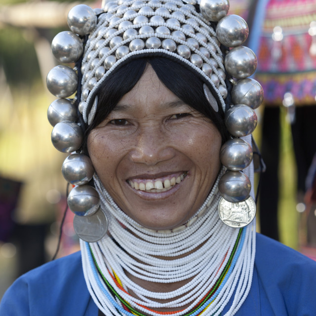"""Loimi-Akha woman with silver balled headdress, near Kengtung, Shan State,..."" stock image"