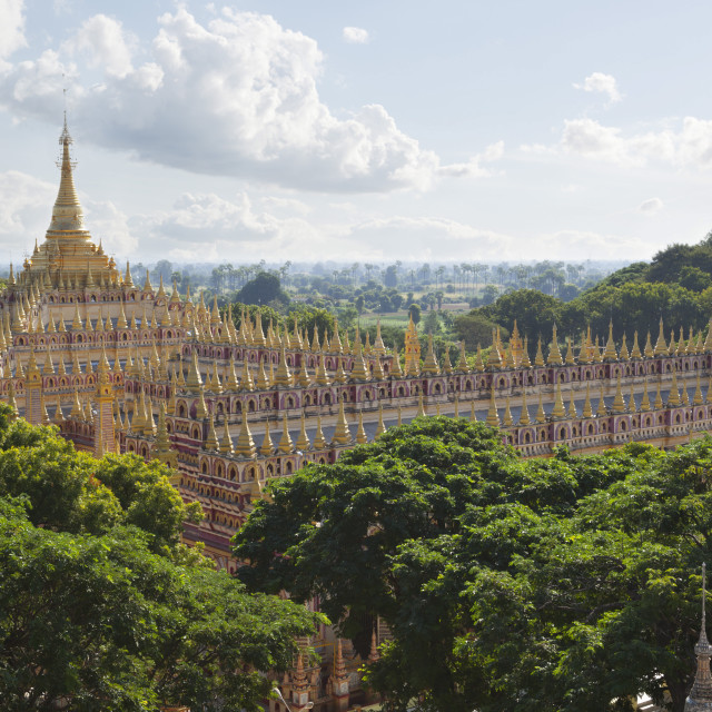 """Thanboddhay Paya (pagoda) with rows of gilt mini-stupas on roof, near Monywa,..."" stock image"
