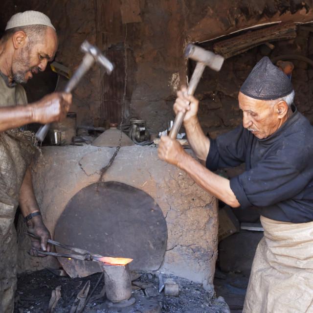 """Blacksmiths workshop at the Monday Berber market, Tnine Ourika, Ourika..."" stock image"