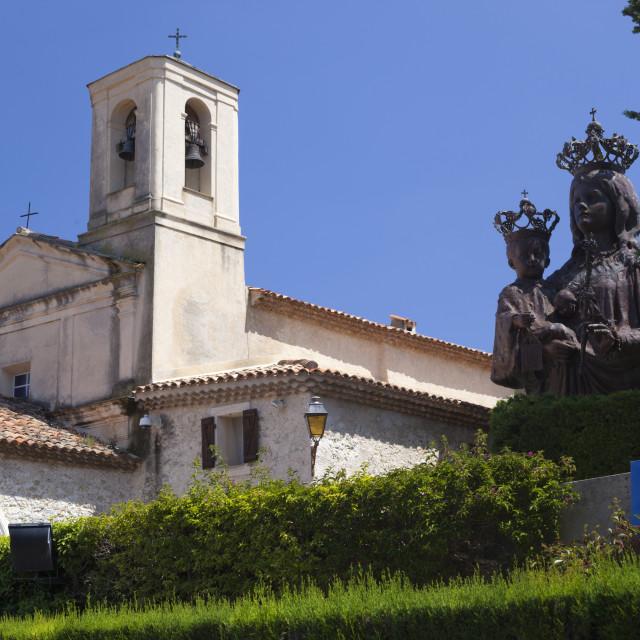 """Saint Hospice chapel with statue of Madonna and Child, Saint-Jean-Cap-Ferrat,..."" stock image"