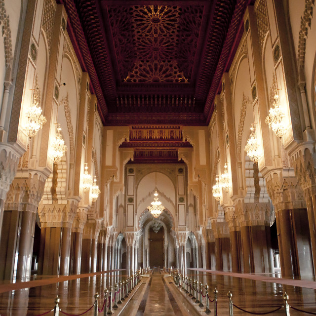 """Interior of Hassan II Mosque, Casablanca, Morocco, North Africa, Africa"" stock image"