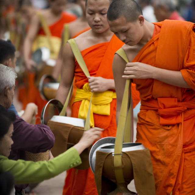 """Buddhist Monks during Alms giving ceremony 'Tak Bat', Luang Prabang, Laos,..."" stock image"