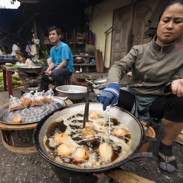 """Deep fried snack stall, Morning Market, Luang Prabang, Laos, Indochina, Asia"" stock image"