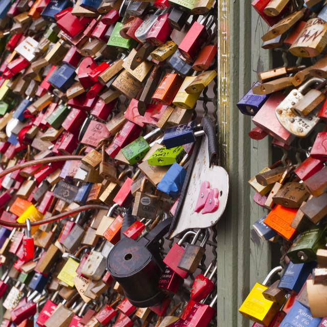 """Love locks on the railway bridge in Cologne, North Rhine-Westphalia, Germany,..."" stock image"