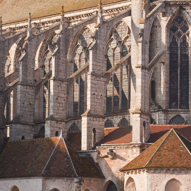 """Flying butresses on the church abbey of Saint Pierre in Chartres,..."" stock image"