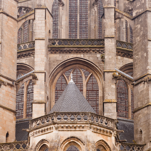 """Flying butresses on St.-Julien du Mans Cathedral, Le Mans, Sarthe, Pays de la..."" stock image"