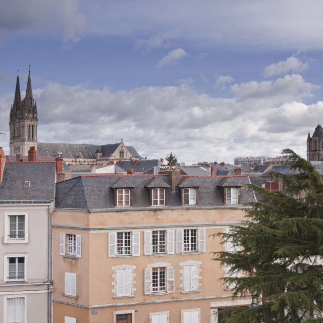 """""""Looking over the rooftops of Angers towards the cathedral, Angers,..."""" stock image"""