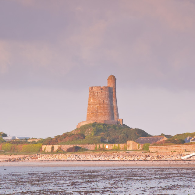 """""""La Hougue tower in Saint Vaast La Hougue, under the protection of UNESCO,..."""" stock image"""