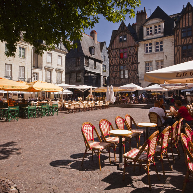 """People enjoying the restaurants in Place Plumereau, Vieux Tours, Tours,..."" stock image"