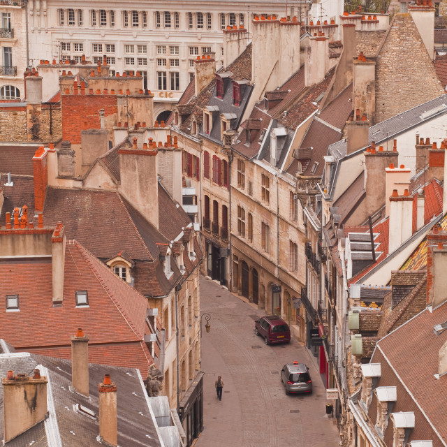 """Looking down on Rue des Forges, Dijon, Burgundy, France, Europe"" stock image"