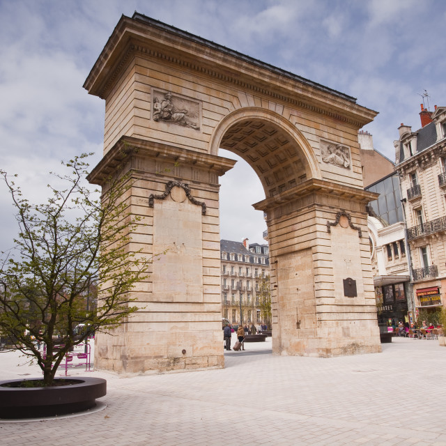 """Porte Guillaume and Place Darcy in the centre of Dijon, Burgundy, France, Europe"" stock image"