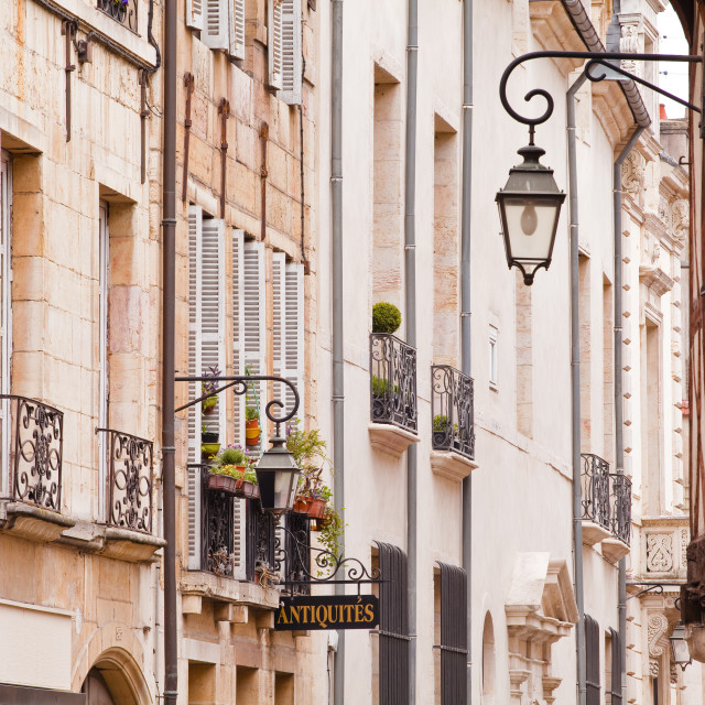 """""""Building facades in the old part of the city of Dijon, Burgundy, France, Europe"""" stock image"""