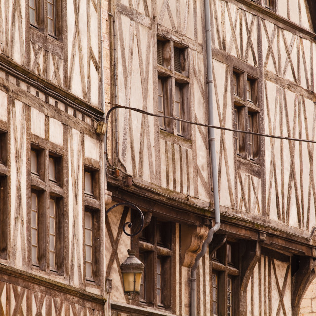 """A half timbered house in the old part of Dijon, Burgundy, France, Europe"" stock image"