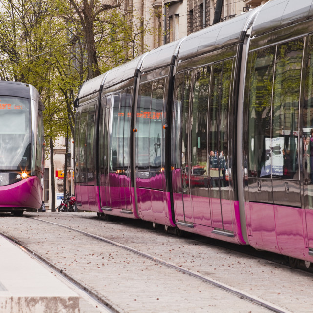 """The tram system in the city of Dijon, Burgundy, France, Europe"" stock image"