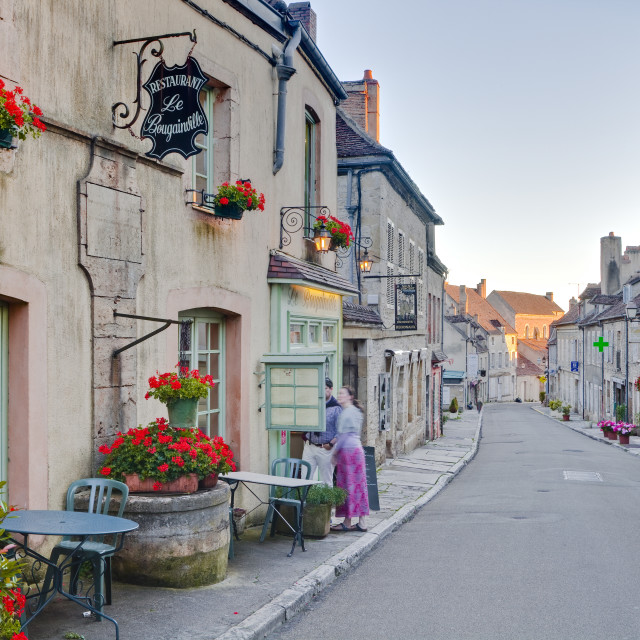 """The main street in the village of Vezelay in the Yonne area of Burgundy."" stock image"