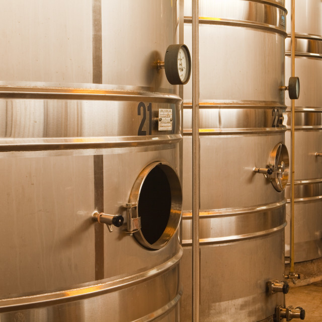 """Wine vats at Gitton Pere et Fils in Sancerre, Cher, Centre, France, Europe"" stock image"