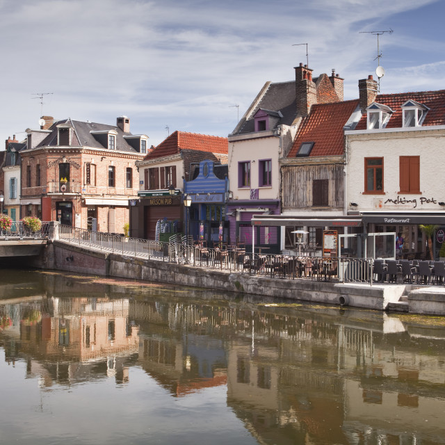 """Shops and houses in the Saint Leu district of Amiens, Somme, Picardy, France,..."" stock image"