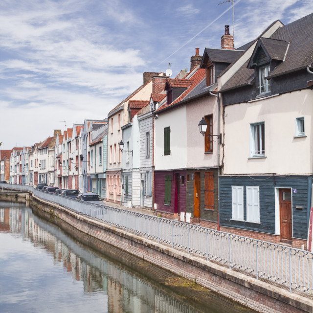 """Colourful houses in the Saint Leu district of Amiens, Somme, Picardy, France,..."" stock image"
