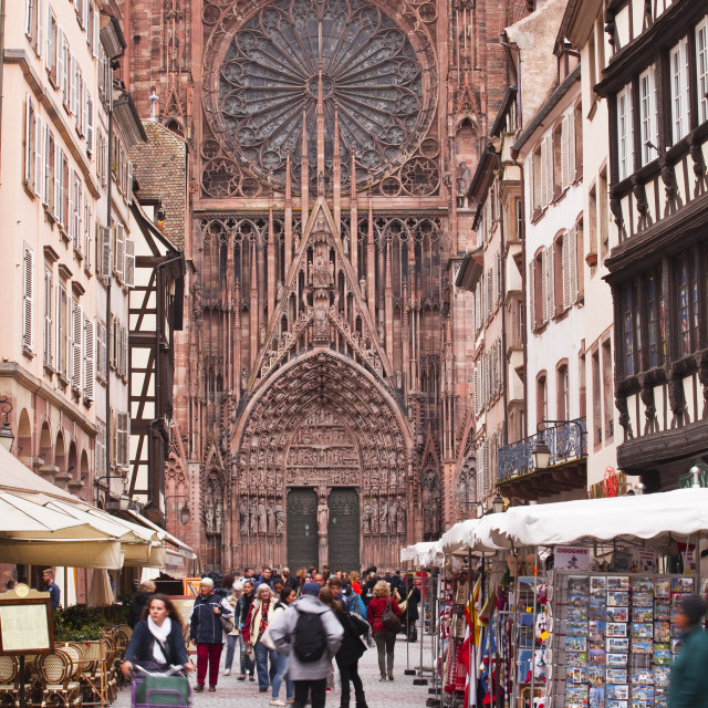 """Rue Merciere and Notre Dame de Strasbourg cathedral, Strasbourg, Bas-Rhin,..."" stock image"