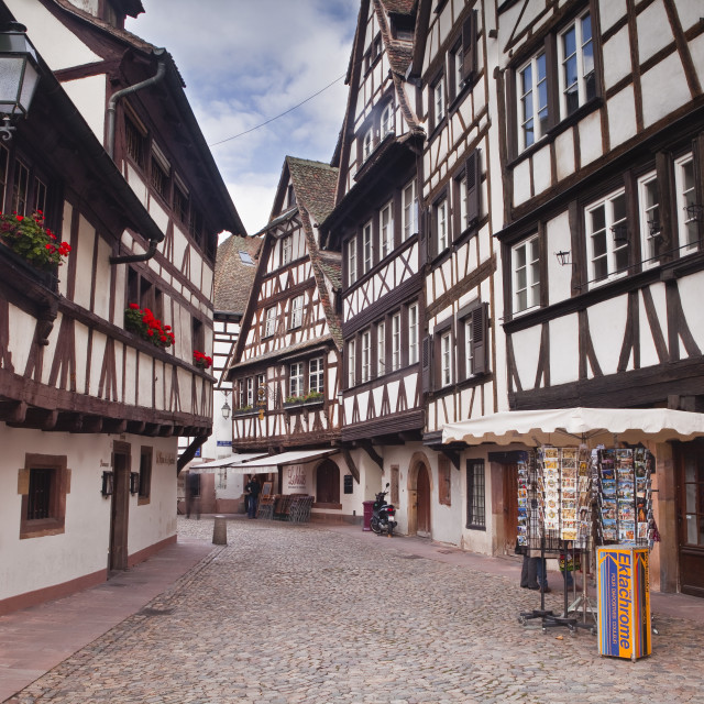 """Half timbered houses in La Petite France, Grande Ile, UNESCO World Heritage..."" stock image"