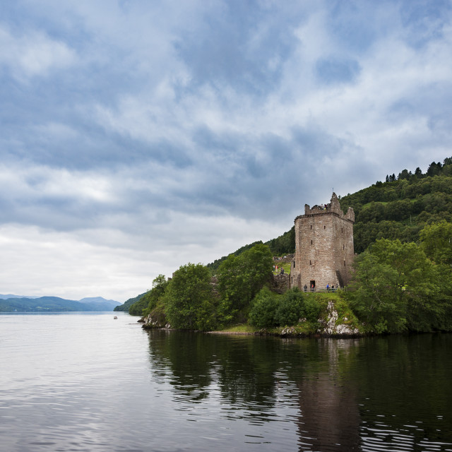 """Loch Ness, Scotland - August 14, 2010: The Urquhart Castle in the banks of the Loch Ness, in Scotland, United Kingdom"" stock image"