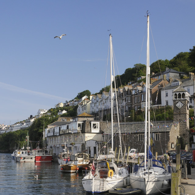 """""""Sailing yachts moored in Looe harbour, Cornwall, England, United Kingdom, Europe"""" stock image"""