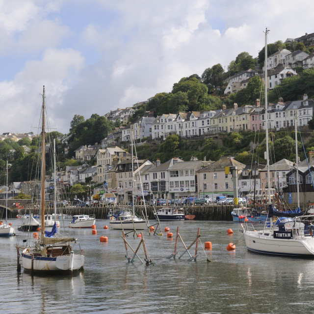 """Sailing yachts, pleasure boats and fishing boats moored in Looe harbour,..."" stock image"
