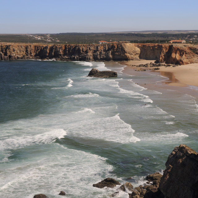 """Praia do Tonel beach viewed from Sagres fort (Fortaleza de Sagres), Ponta de..."" stock image"