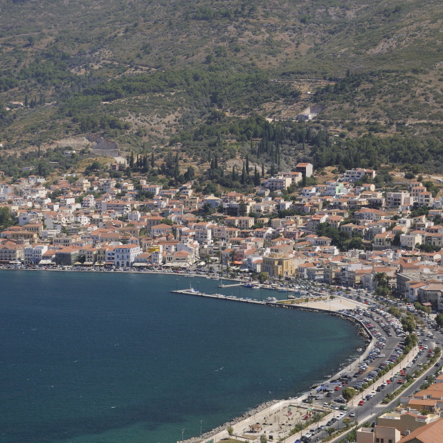 """""""View over Samos harbour and town, Isle of Samos, Eastern Sporades, Greek..."""" stock image"""