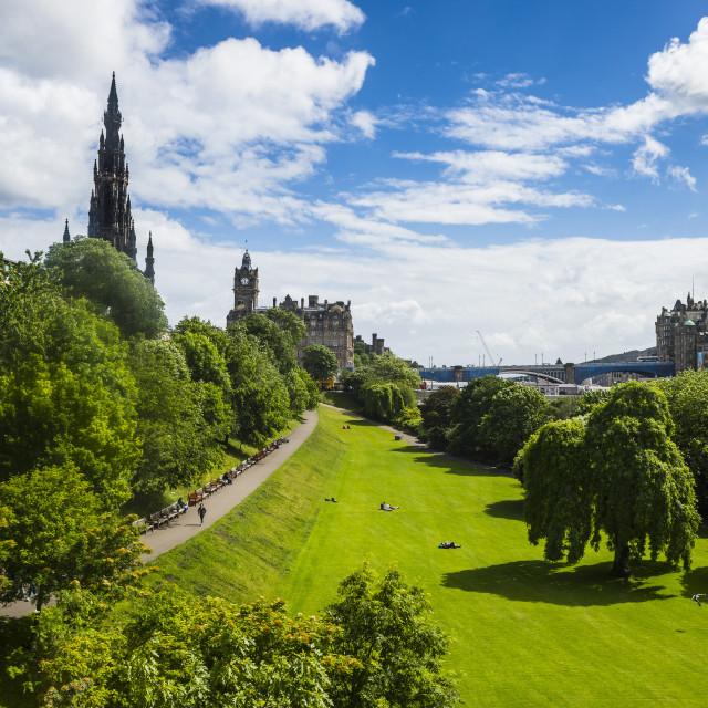 """Overlook ove the princes street gardens, Edinburgh, Scotland"" stock image"