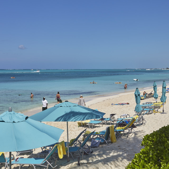 """""""A view of Grace Bay at the Coral Garden Resort and Somewhere Restaurant,..."""" stock image"""