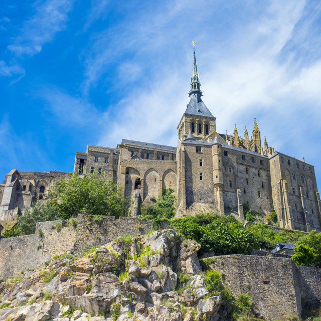 """France, Normandy, Manche department, Mont-Saint-Miichel. Abbaye du..."" stock image"