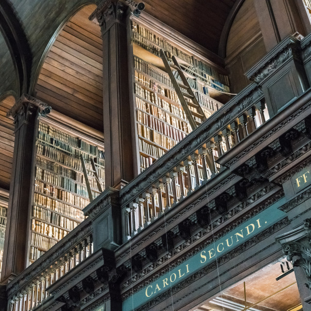 """Ireland, Dublin, Trinity College, Old Library building, Long Room, interior"" stock image"