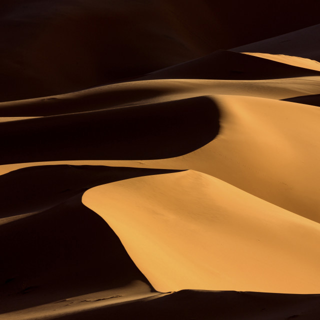 """Shapes and shadows in dunes of the Erg Chebbi sand sea, part of the Sahara..."" stock image"