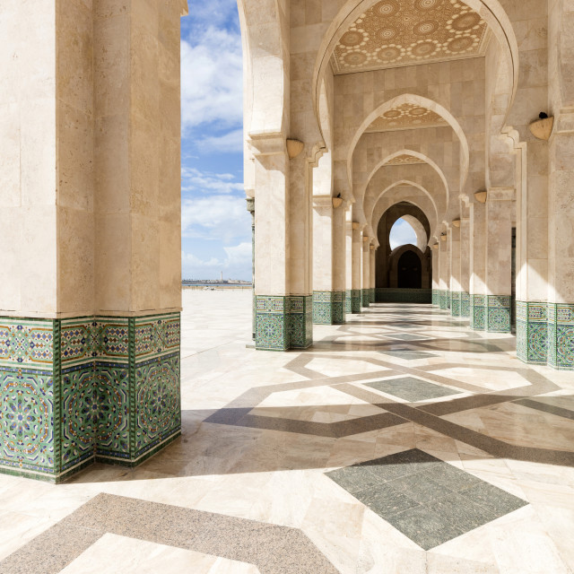 """Arches and columns, part of the Hassan II Mosque (Grande Mosquée Hassan II),..."" stock image"