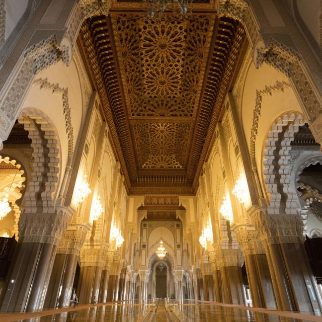 """""""Interior of the Hassan II Mosque (Grande Mosquée Hassan II), Casablanca,..."""" stock image"""