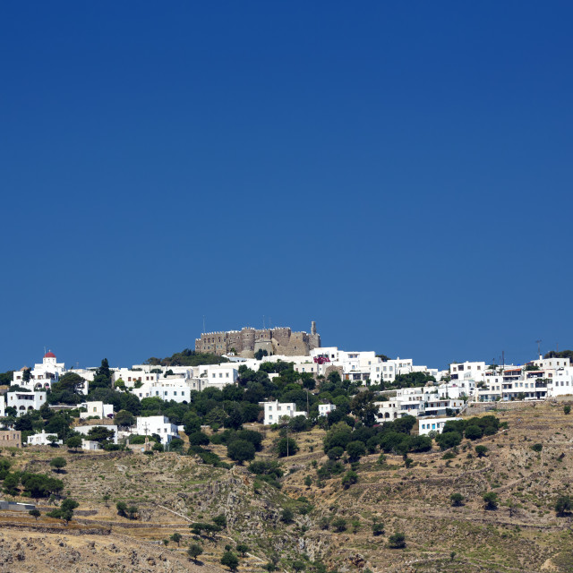 """""""View of Chora town and Monastery of St John the Evangelist in Patmos island,..."""" stock image"""