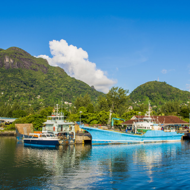 """Victoria Harbour, Mahe, Republic of Seychelles, Indian Ocean."" stock image"